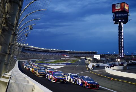 concord, north carolina   may 24 alex bowman, driver of the 88 chevygoodcomnoco patriotic chevrolet, leads a pack of cars during the nascar cup series coca cola 600 at charlotte motor speedway on may 24, 2020 in concord, north carolina photo by jared c tiltongetty images