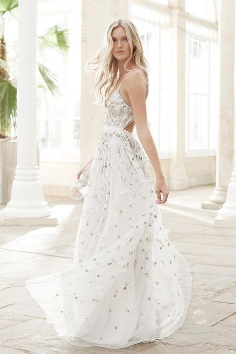 Gown, Clothing, Wedding dress, Dress, Shoulder, Fashion model, Bridal clothing, Photograph, Bridal party dress, Bride,