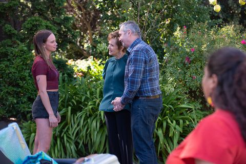 bea nilsson, susan kennedy, karl kennedy and sheila canning in neighbours