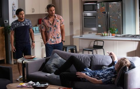 david tanaka and aaron brennan face trouble with brent colefax and emmett donaldson in neighbours