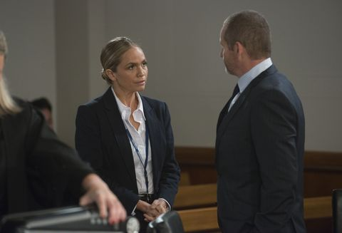 elly conway is supported by loved ones as she appears in court in neighbours