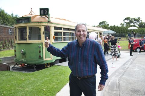 Karl Kennedy with the vintage tram in Neighbours