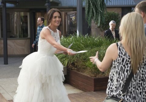 Mark Brennan sees Elly Conway and Paige Smith in wedding dresses in Neighbours