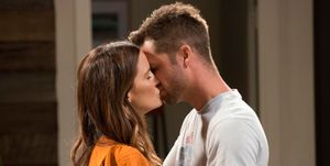 Elly Conway and Mark Brennan kiss in Neighbours