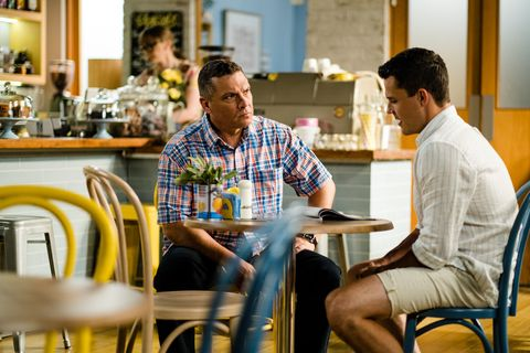 Jack Callahan confides in Mark Gottlieb in Neighbours