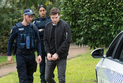 ned willis is arrested with yashvi rebecchi watching on in neighbours