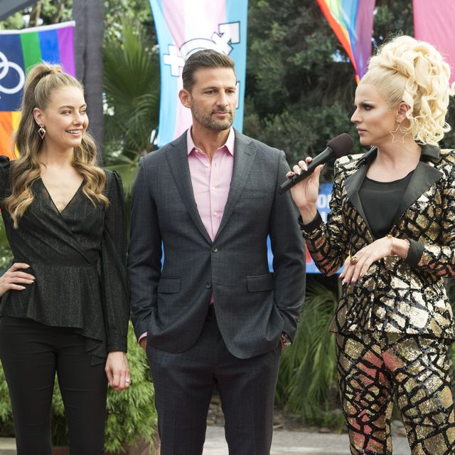 chloe brennan, pierce greyson and courtney act in neighbours