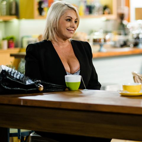 Lucy Robinson and Mark Gottlieb catch up in Neighbours