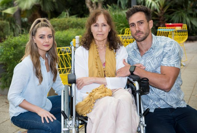 chloe, aaron and fay brennan in neighbours