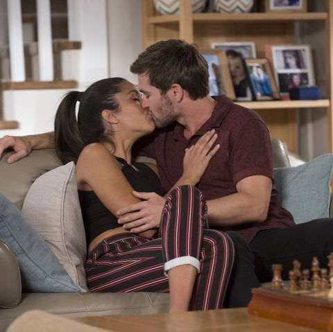 Yashvi Rebecchi and Ned Willis kiss in Neighbours