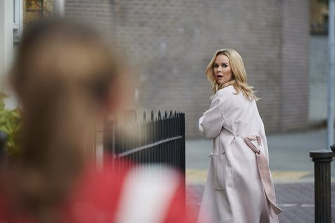 Neighbors Amanda Holden filming London Story with Jemma Donovan