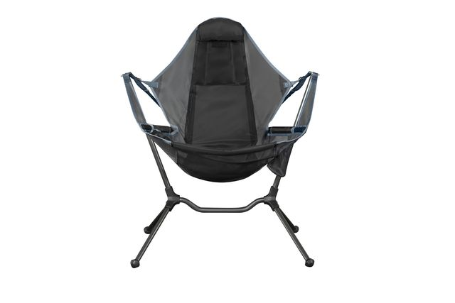 a large black camping chair
