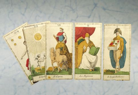 Neoclassical tarot cards, print by Ferdinand Gumppenberg, Milan, 1820, Italy, 19th century