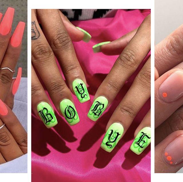 5b2265884b9 19 Neon Nail Designs That Shine Brighter Than Your Future