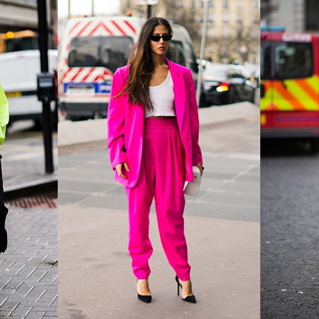 Clothing, Street fashion, Pink, Fashion, Blazer, Yellow, Orange, Outerwear, Footwear, Snapshot,