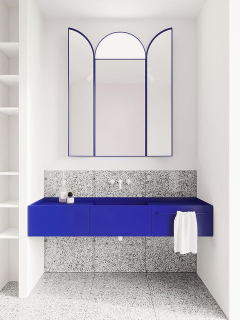 bathroom sink and vanity in klein blue