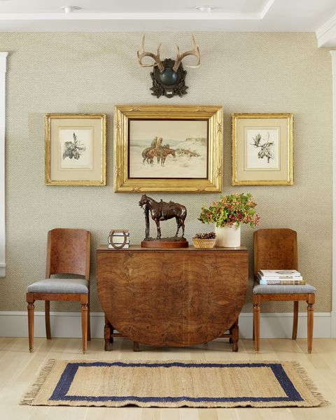 neutral rustic entry with burlwood furniture