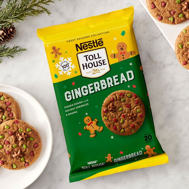 nestlé toll house gingerbread cookie dough with holiday sprinkles