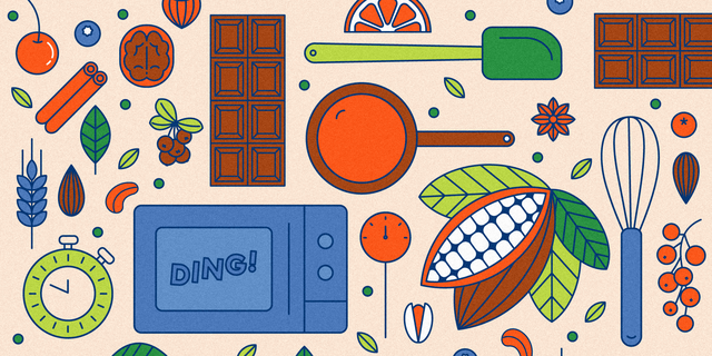 illustration of cocoa beans, chocolate bars, a microwave and various kitchen utinsils