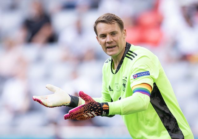 19 june 2021, bavaria, munich football european championship, portugal   germany, preliminary round, group f, 2nd matchday, at the em arena in munich germany's goalkeeper manuel neuer claps after the match photo christian charisiusdpa photo by christian charisiuspicture alliance via getty images