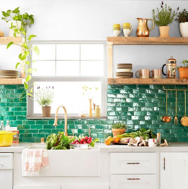 neutral paint color inn colorful kitchen