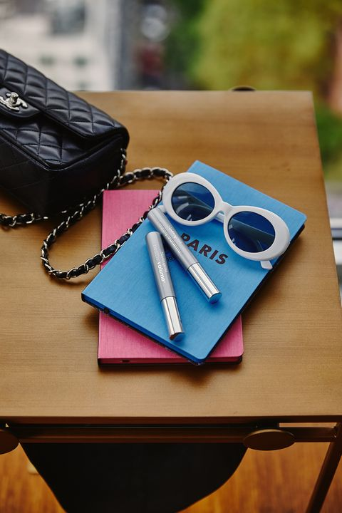 Eyewear, Product, Glasses, Leather, Sunglasses, Pink, Fashion accessory, Wallet, Design, Material property,