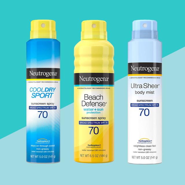 neutrogena spray sunscreens on blue background