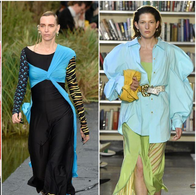 Fashion, Fashion model, Clothing, Haute couture, Orange, Pink, Fashion design, Street fashion, Costume design, Dress,