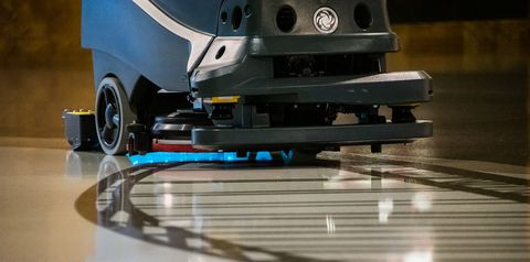 a robotic floor scrubber uses uv c light to kill microorganisms in high traffic parts of the airport in pittsburgh