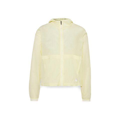 new balance run jack windjack wind jas jacket geel hardlopen hardloopkleding windbestendig