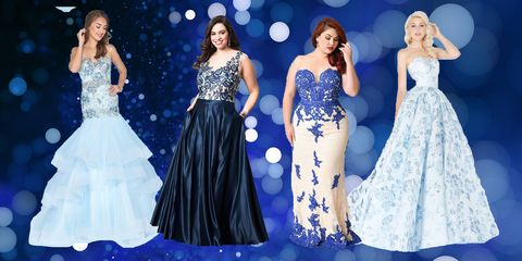 Gown, Dress, Clothing, Fashion model, Blue, Formal wear, Shoulder, Fashion, Event, A-line,