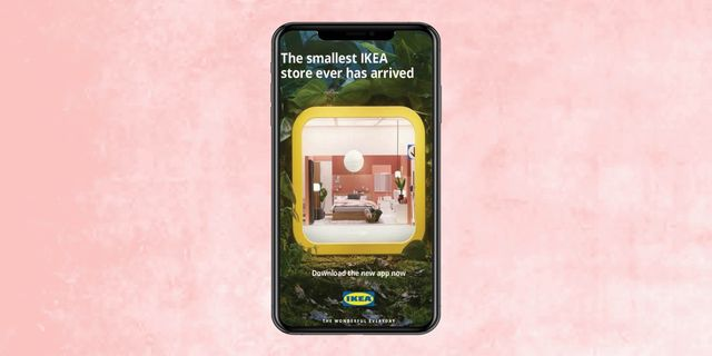 ikea app on phone with pink background
