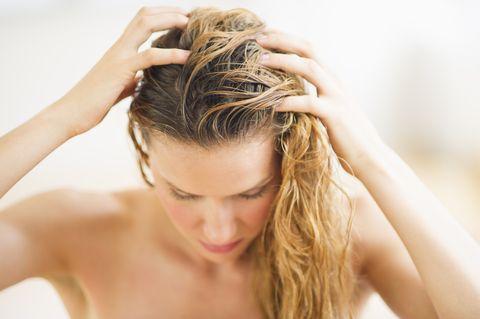 usa, new jersey, jersey city, woman washing hair