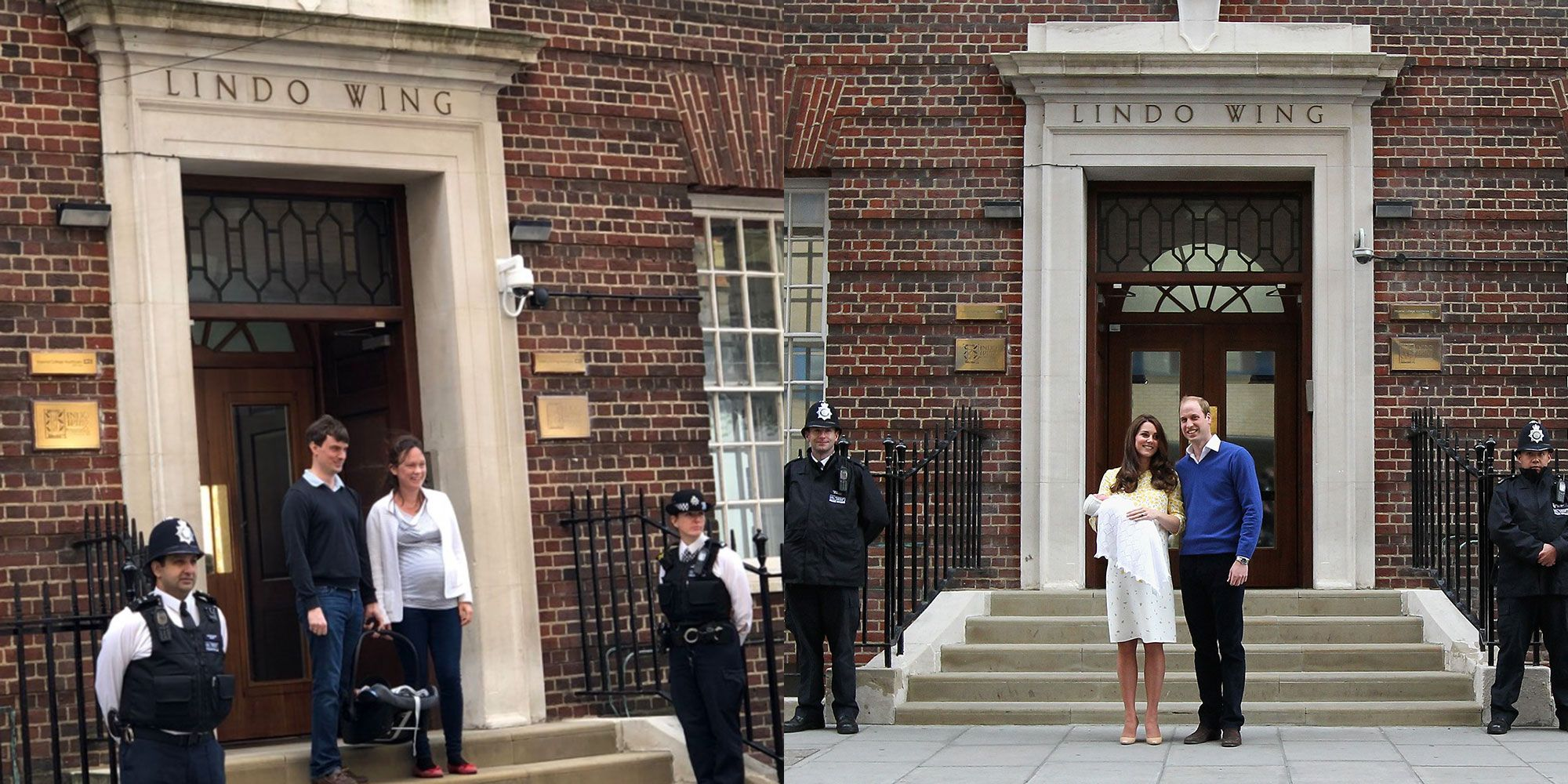 This couple posed for photos with their newborn baby outside the Lindo Wing