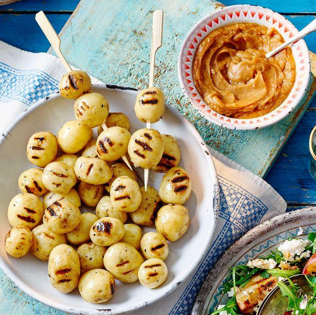 new potato skewers and satay sauce