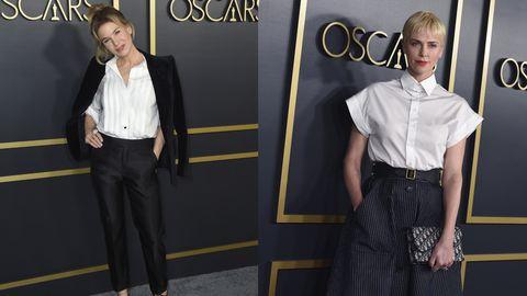 LOS MODELOS EN BLANCO Y NEGRO DE Charlize Theron Y Renee Zellweger EN EL almuerzo previo a los Oscar QUE querrás para ir a trabajar