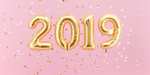new year 2019 celebration gold foil balloons numeral 2019 and confetti