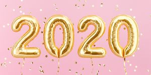 New year 2020 celebration. Gold foil balloons numeral 2020
