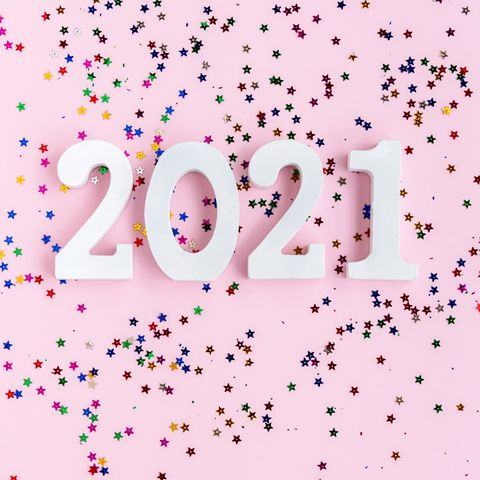 2021 new year concept with glitter
