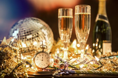 new year's eve holiday party, pocket watch, clock at midnight
