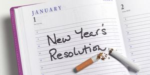 New Year's Resolution Quitting Smoking, in Diary
