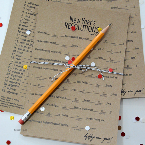 mad libs style resolutions game