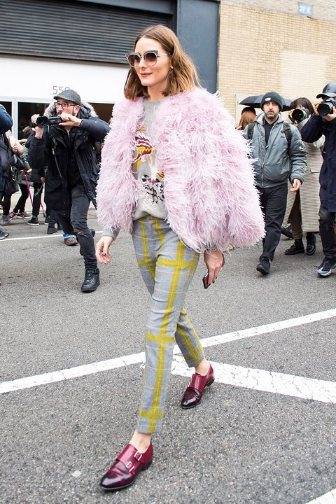 Street fashion, Fashion, Fur, Clothing, Pink, Yellow, Snapshot, Fur clothing, Eyewear, Footwear,