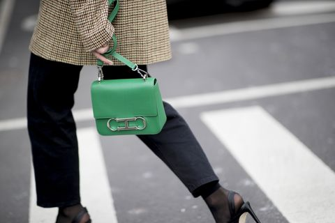 Green, Street fashion, Fashion, Footwear, Joint, Waist, Leg, Ankle, Bag, Hand luggage,