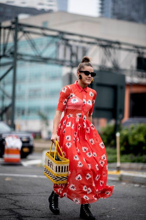 Street fashion, Clothing, Red, Fashion, Dress, Yellow, Snapshot, Pattern, Orange, Design,