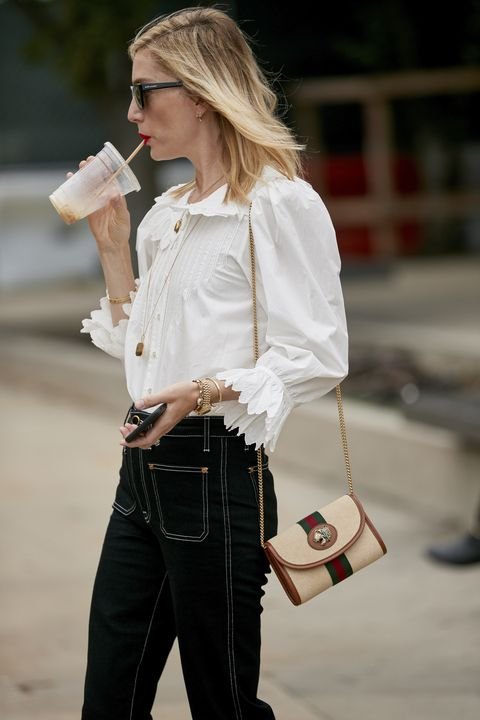 White, Clothing, Street fashion, Jeans, Blond, Shoulder, Shirt, Fashion, Sleeve, Waist,