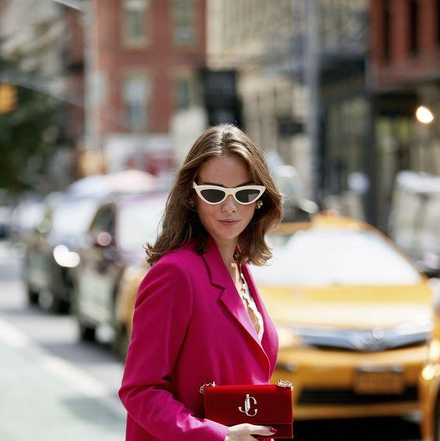 Pink, Clothing, Street fashion, Fashion, Shoulder, Red, Magenta, Outerwear, Eyewear, Snapshot,