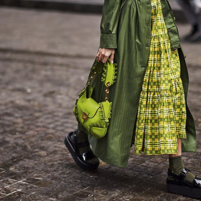 Green, Fashion, Street fashion, Yellow, Design, Outerwear, Adaptation, Pattern, Textile, Dress,