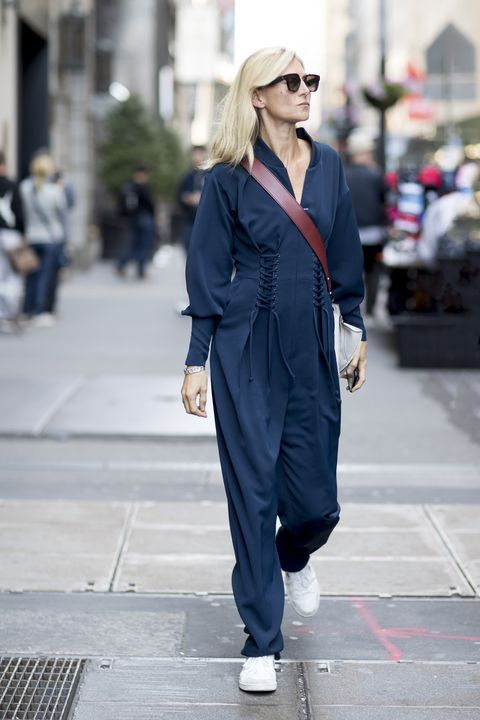 Clothing, Street fashion, Fashion, Suit, Snapshot, Sunglasses, Outerwear, Footwear, Pantsuit, Electric blue,