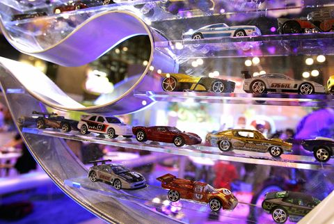 Mattel's Hot Wheels are seen on display...